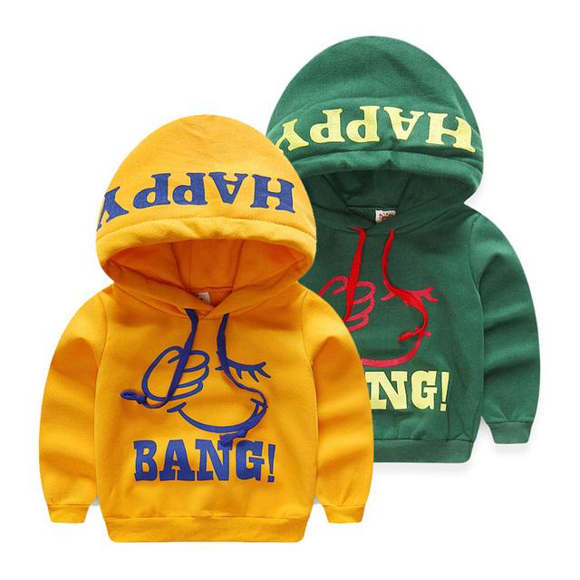 2015 outono infantil e roupas de inverno carta masculino criança topo criança bebê fleece outerwear camisola com capuz wt-2839