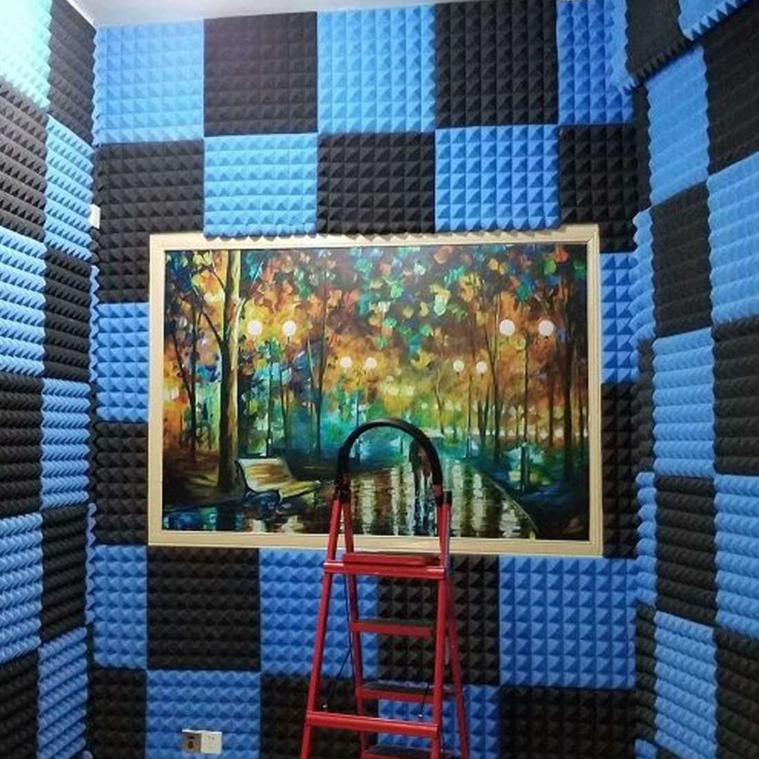 رغوة صوتية مجلس عازلة للصوت امتصاص الصوت القطن طبل غرفة تسجيل استوديو البيانو جدار عزل الصوت الإسفنج