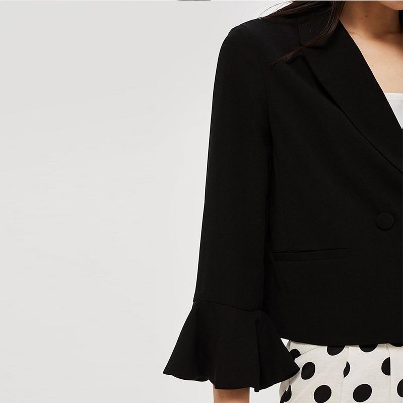 HDY Haoduoyi Women Three Quarter Sleeve Blazer Solid Single Breasted Notched Coat Casual Ruffle sleeve Elegant Autumn Outwear