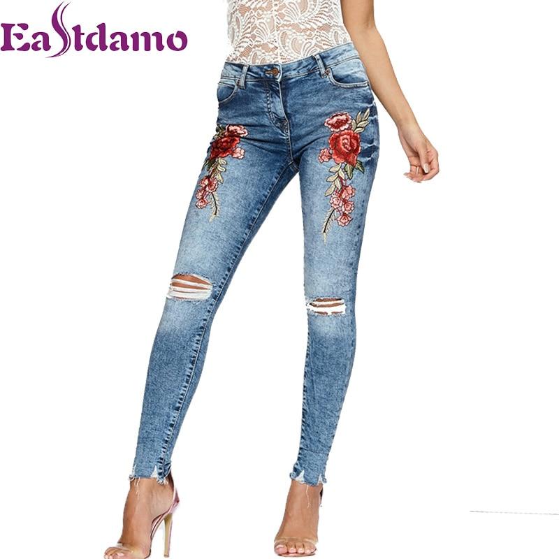 Eastdamo 2017 Blue High Waist Women Embroidered Jeans 3D