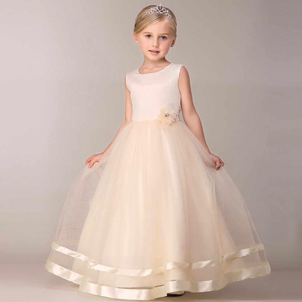 Girl Flower Wedding Dress For Girls Princess Birthday Party Dress Kids Long Tulle Formal Evening Girls Dress For Girls Prom Gown girls short in front long in back purple flower girl dress summer 2017 girl formal dress kids party princess custume skd014283