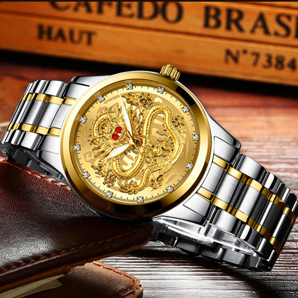 Montre Homme Luxury Gold Men Watches Automatic Self-Wind  Waterproof Dragon Face Full Solid Watch Wristwatch Reloj Hombre
