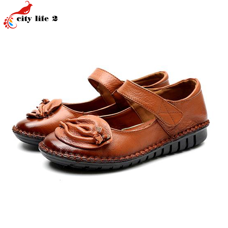 Flat With Round Leather Soft Bottom Shoes Comfortable Flowers Casual Non Slip Mother Shoes font b