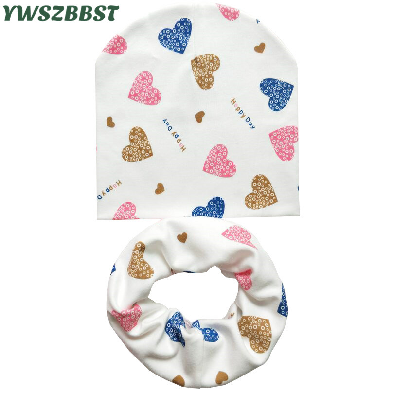 New Spring Cotton Children Hat Scarf Love Heart Print Crochet Girl Boy Cap Scarf Autumn Winter Baby Hat Toddlers   Beanie   Cap
