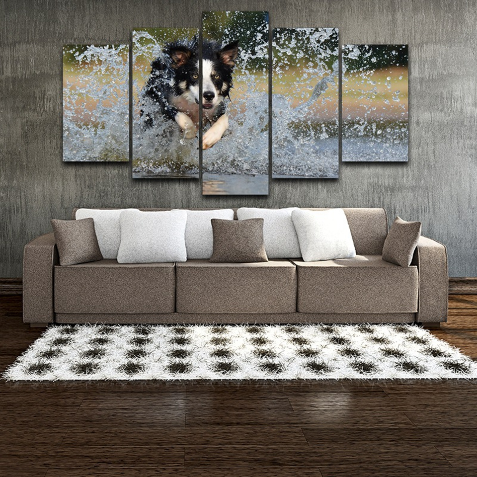 Canvas Wall Art Pictures Frame Home Decor Posters 5 Pieces Animal Dog Running Playing Water HD Printed Painting For Living Room in Painting Calligraphy from Home Garden