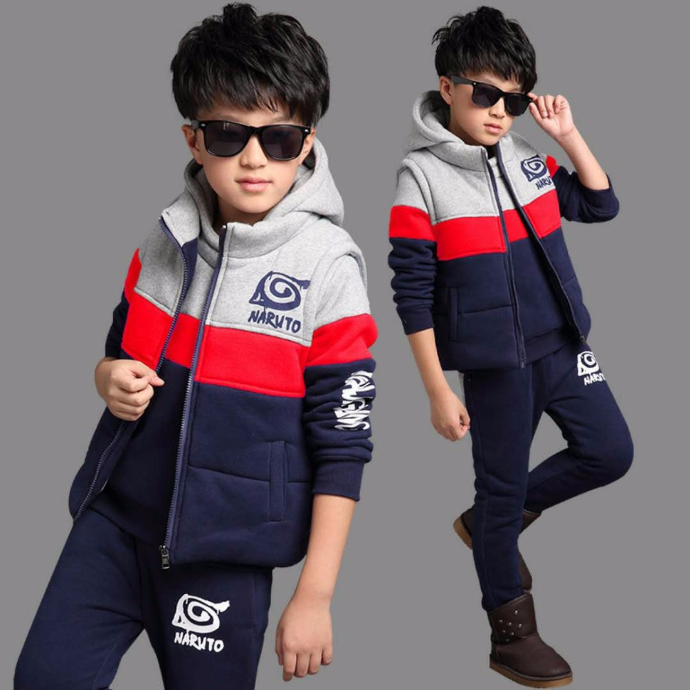 Kids Teens Clothes Baby Boy Clothing Sets 3 Pieces Thin Warm Cartoon Spring Hooded Clothes For Kids Casual Sport Coat Suits