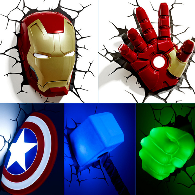 3D Toys Led Night Light Avengers Creative Wall Lamp for Children Kids Gift Bedside Bedroom Living Room Captain America Shield act motor 3pcs nema34 stepper motor 34hs9820b 890oz 98mm 2a 8 lead dual shaft ce iso rohs cnc router us de uk it sp fr jp free page 8