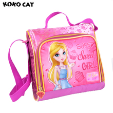 KOKOCAT Cute Princess Printing Insulated Lunch Cooler Bags For Girls Fashion Cartoon Kids Lunch Box Thermal Food Picnic Bags