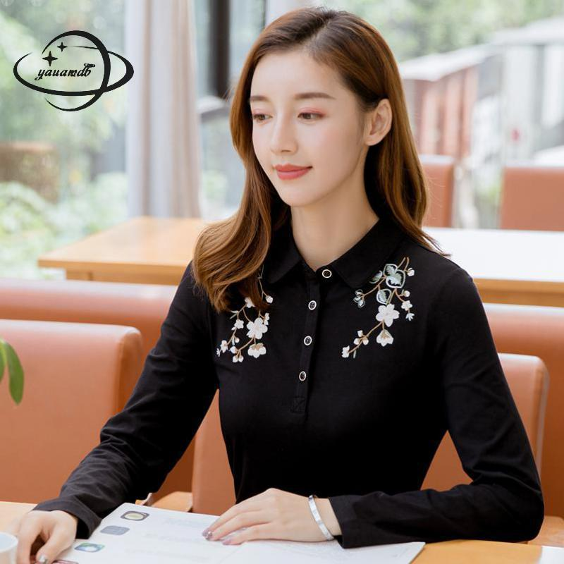 women polo shirts spring autumn M-4xl female tops tees clothing long sleeve  floral pattern casual f71fd6cc0