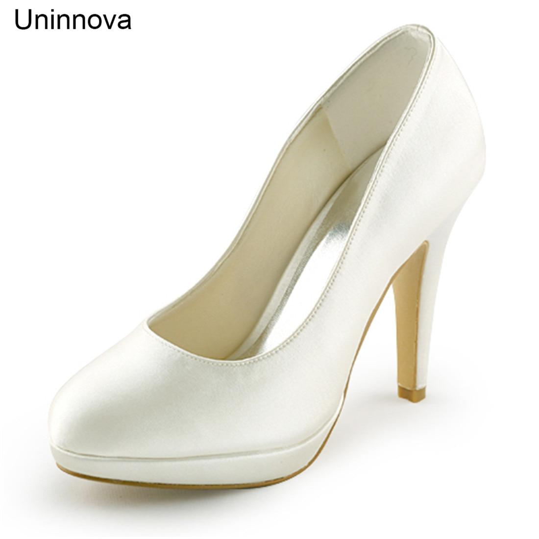 Elegante Dünne High Heels Braut Brautjungfer Elfenbein Weiß Champagner Plattform Pumpen Luxus Satin Hochzeit Schuhe Uninnova 521 1 LY