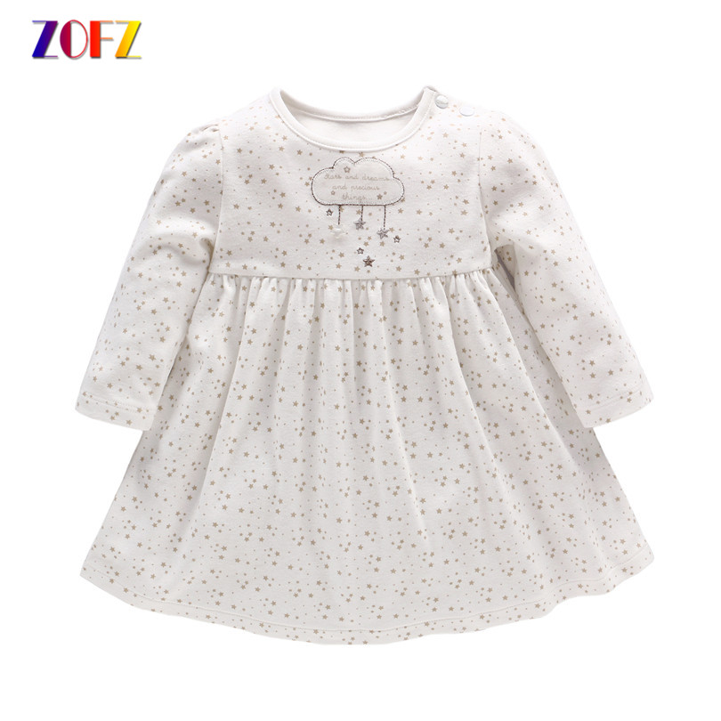 ZOFZ NewBorn Baby Dress 2017 Summer Princess baby girl dress Cute Star Print Baby Girls Clothes casual knee length baby Clothing 2pcs ruffles newborn baby clothes 2017 summer princess girls floral dress tops baby bloomers shorts bottom outfits sunsuit 0 24m