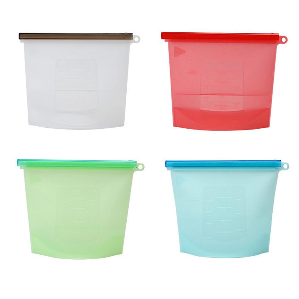 4pcs Silicone Reusable Food Sealing Storage Bags Refrigerator Fresh bag Vacuum Food Sealer Fruit Meat Ziplock Kitchen Organizer in Saran Wrap Plastic Bags from Home Garden