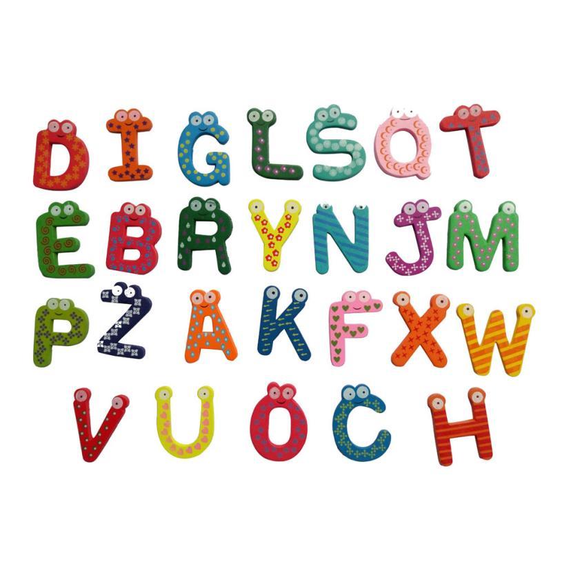 Новинка 2017 года Бесплатная доставка 26 букв деревянный мультфильм магнит на холодильник Малыш Детские развивающие игрушки O24