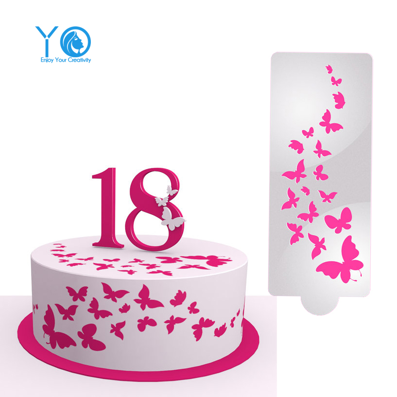 14in*6in Butterfly Cake Stencil Wedding Decoration Fondant ...