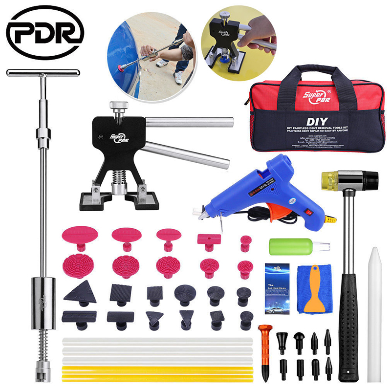 PDR Tools Car Repair Tool Set Dent Puller Kit Removing Dents Auto Tool Set Dent Repair Glue Gun Hammer Sucker Aluminum Pen pdr tool pdr brace tool b4