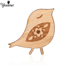 Yiustar Happy Sweet Mini Cherry-birds Lapel Pin Wooden Brooch Pin Exquisite Elegant Cute Charm Pin for Women Girls Family Gifts(China)