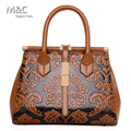 2017 New Style Women Leather Handbag Embossed Flower Shoulder Bags Ladies Fashion Leather Bag Brand Luxury Bags SD-436