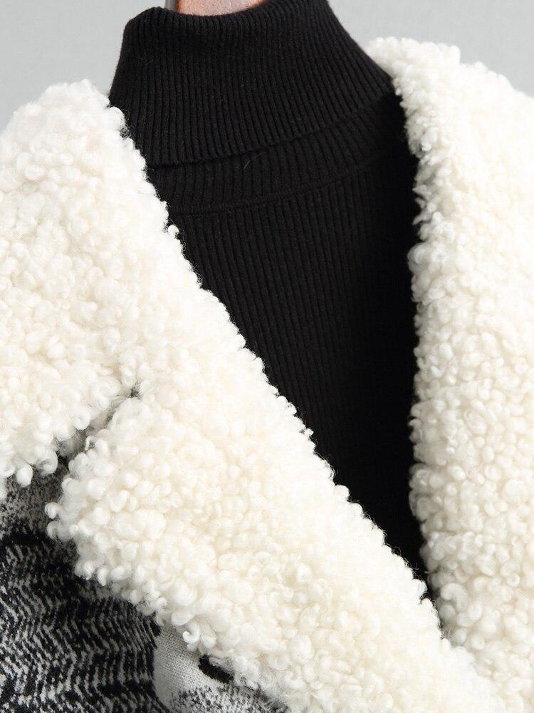 D'hiver Chaude Avec Agneau Tussah Naturel Épaisse Soie Remplissage De Longue Manteaux Noir Manteau Fourrure Veste Mode Z310 Femmes Nouveau Laine Col SZq5n5