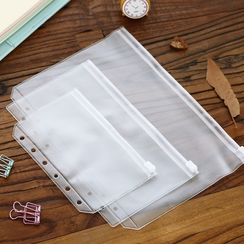 2pcs/lot A5/A6 Size Plastic Zip Lock Envelope Zipper Wallet Insert Refill Organiser