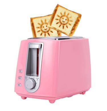 DWMD электрический тостер из нержавеющей стали Бытовая Автоматическая хлебопечка машина для завтрака тост Сэндвич Гриль духовка 2 ломтика - Цвет: pink with smile