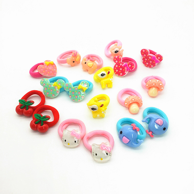 5pairs/lot cartoon Hair band Children Hair Accessories kids Scrunchy Elastic Hair ties for girls rubber band hair gum DQ2 12pc set elastic hair rubber band children hair unicorn headband kids hair accessories gril hair band set cute unicorn cartoon