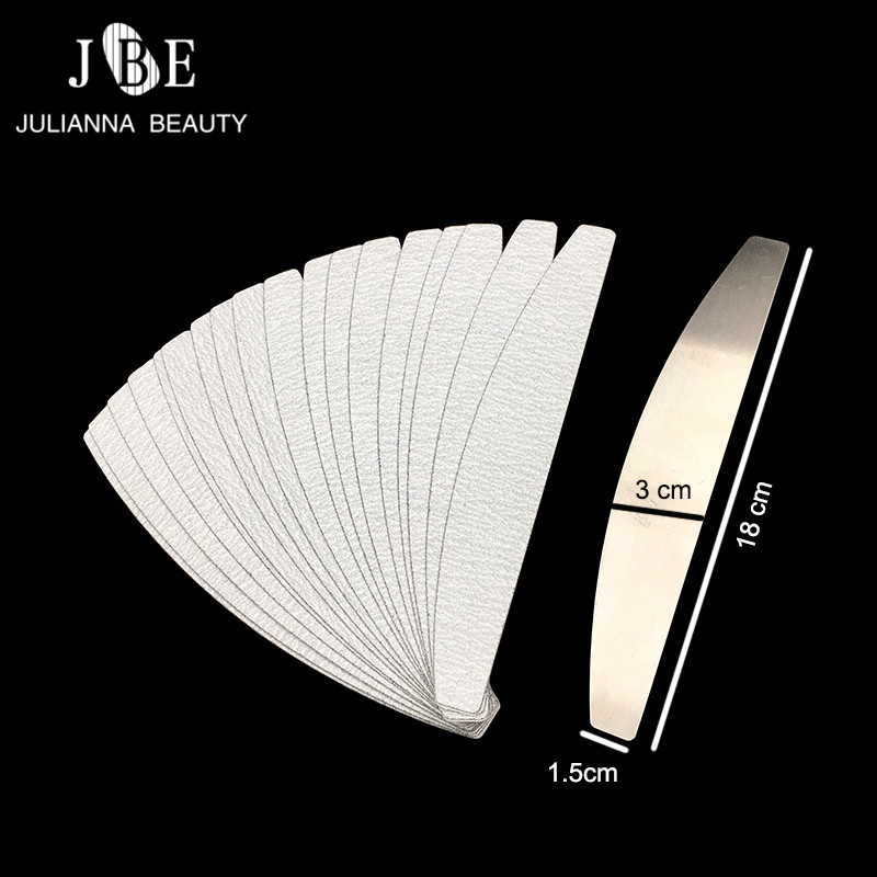 50pcs #100/#180  Removalble Sand Paper Replacement For Stainless Steel Double Sided Halfmoon Nail File Nail Art Beauty Tool