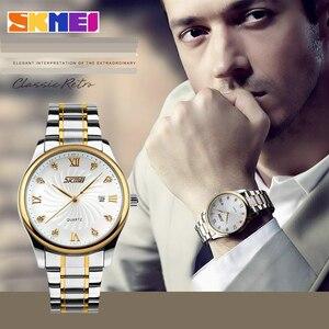 Image 5 - SKMEI Fashion Mens Watches Top Brand Luxury Business Watch Men Stainless Steel Strap Quartz Wristwatches Relogio Masculino 9101