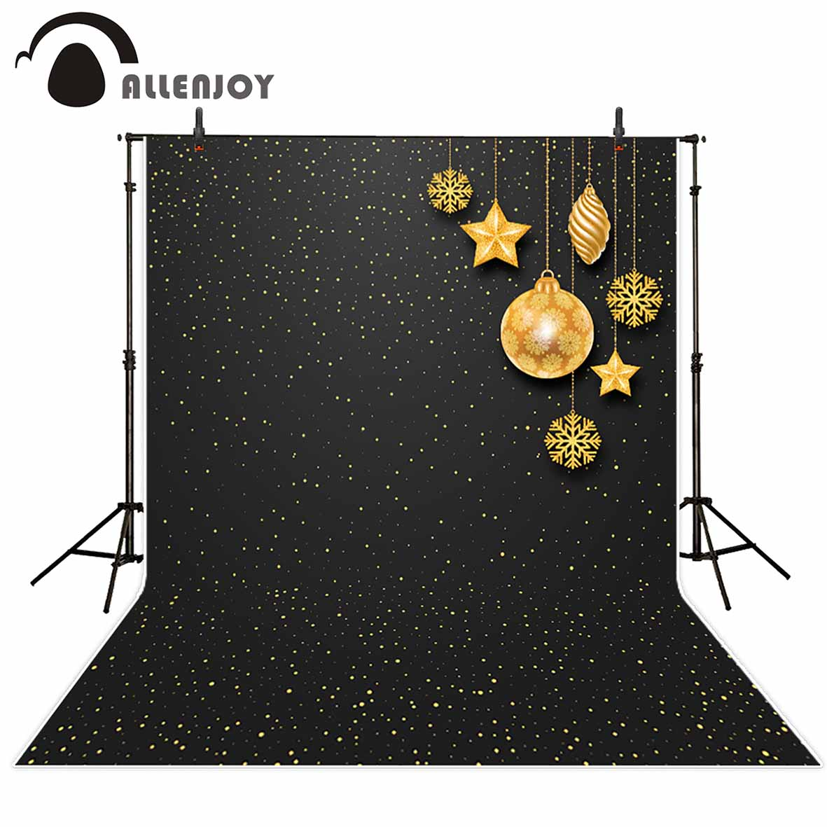 Allenjoy photographic background Black stars spots gold balls Christmas children backdrop photocall professional customize christmas backdrop photography allenjoy snowflake stars blur background photographic studio children s camera digital printing