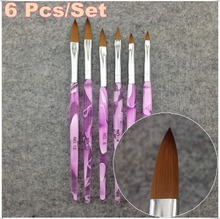 6 Pcs Set Nail Brush 6 Sizes Nail Art UV Gel Nail Art Painting Draw Brush