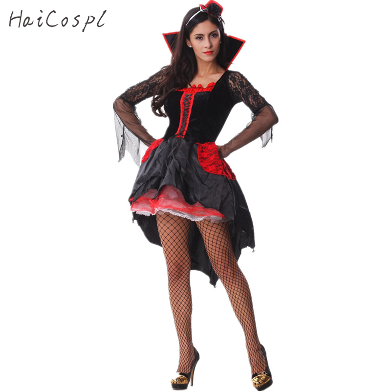 Halloween Vampire Costumes Women Fancy Sexy Dress Witch Cosplay Disguise Carnival Party Princess Role Play Games Apparel Adults