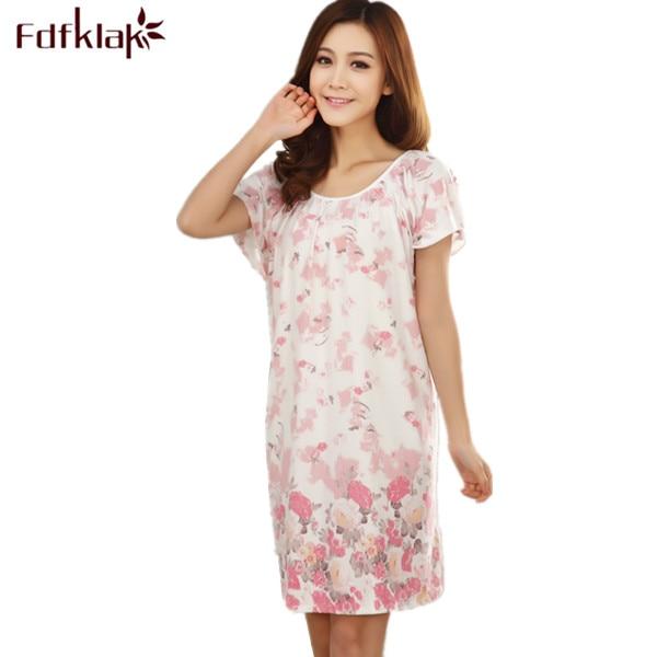 Fdfklak Fashion New Nightgowns For Women Long Cartoon Girls Nightwear Nightdress Cotton And Silk Sleepshirt Summer Dress E0789