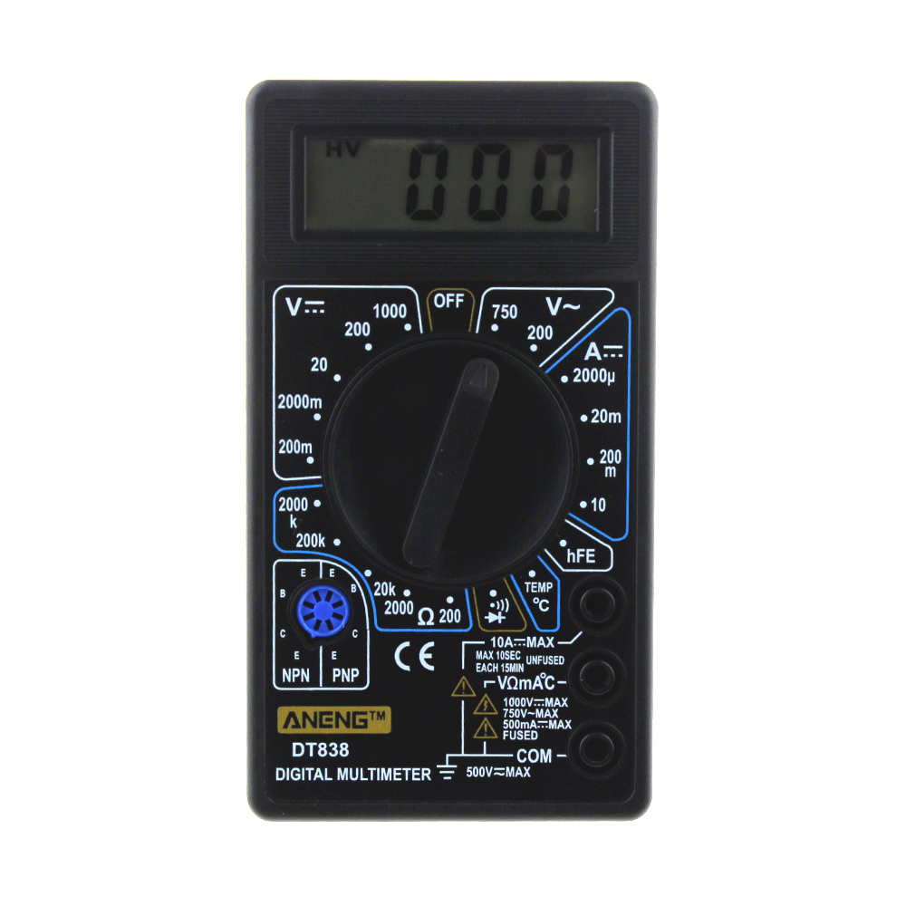 DT838 Digital Multimeter Tester Voltmeter Measuring Current Resistance Temperature Meter ACDC Ammeter Test Lead Probe Multi Test