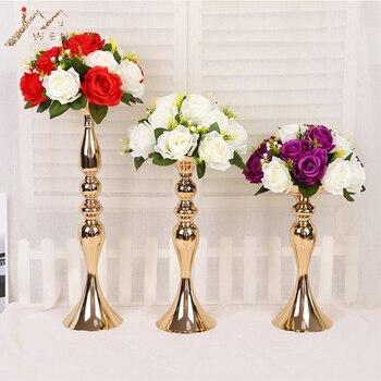 Flores artificiales de 26CM de diámetro 15 cabeza de tela de plástico de simulación flor camino plomo para la decoración del hogar centro de mesa de la boda