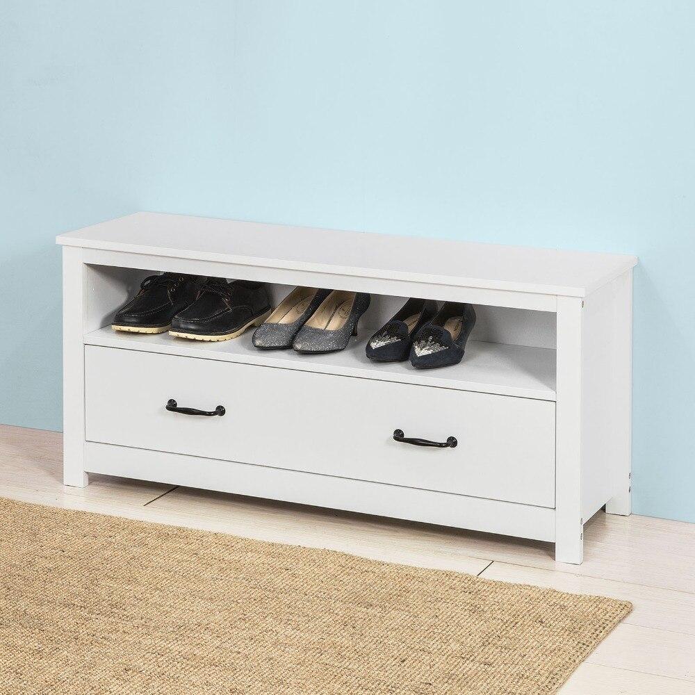 SoBuy FSR48-W, Shoe Rack Storage Bench Shoe Cabinet Organizer Drawer, White guidecraft classic white storage bench