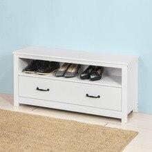 SoBuy FSR48-W, обувной стеллаж для хранения скамейка обувной шкаф Органайзер Ящик, белый