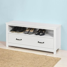 SoBuy FSR48 W White Shoe Rack Storage Bench Shoe Cabinet Organizer Drawer White
