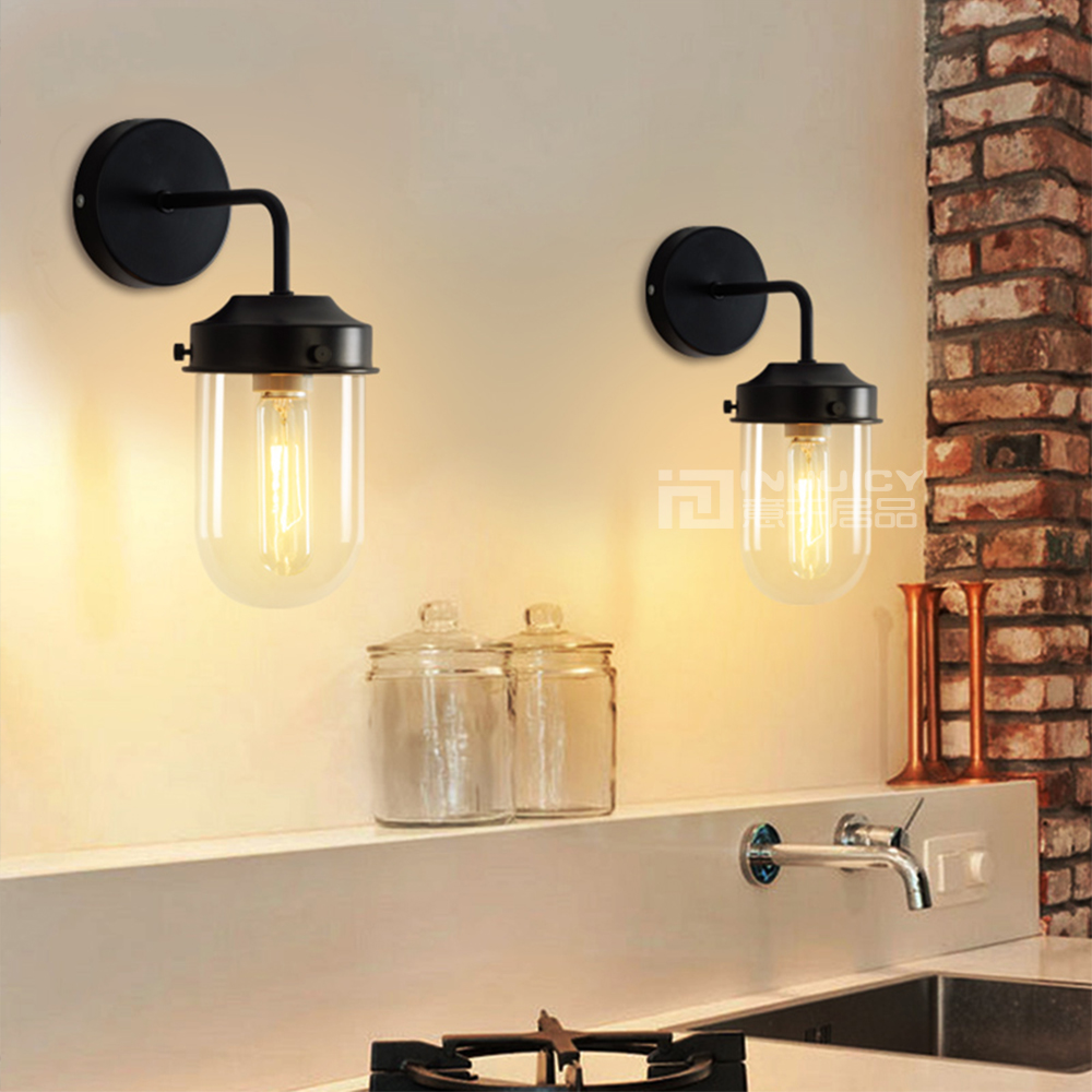 Nordic Retro Vintage Industrial Iron Glass Cafe Bar Loft Bedroom Wall Lamp Light Store Club Reading Room Decor Green/Black New