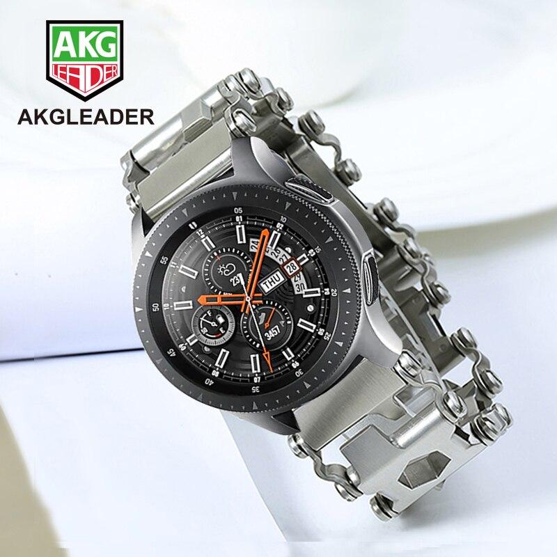 Pulseira de Relógio de metal Para Samsung Galaxy Relógio 46 Engrenagem dois milímetros S3 Faixa de Relógio Pulseira Para Garmin Fenix 3 HR 5X ferramenta Chave De Fenda de aço Banda