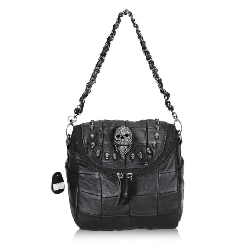 2017 Luxury Handbags Black Women Bags Designer Women's Bag Rivet Chain Messenger Shoulder Bags Female Skull Clutch Famous Brand punk rivet handbags women bags designer brands shoulder bags chain messenger bag clothes shape black tote bolsas femininas a0337