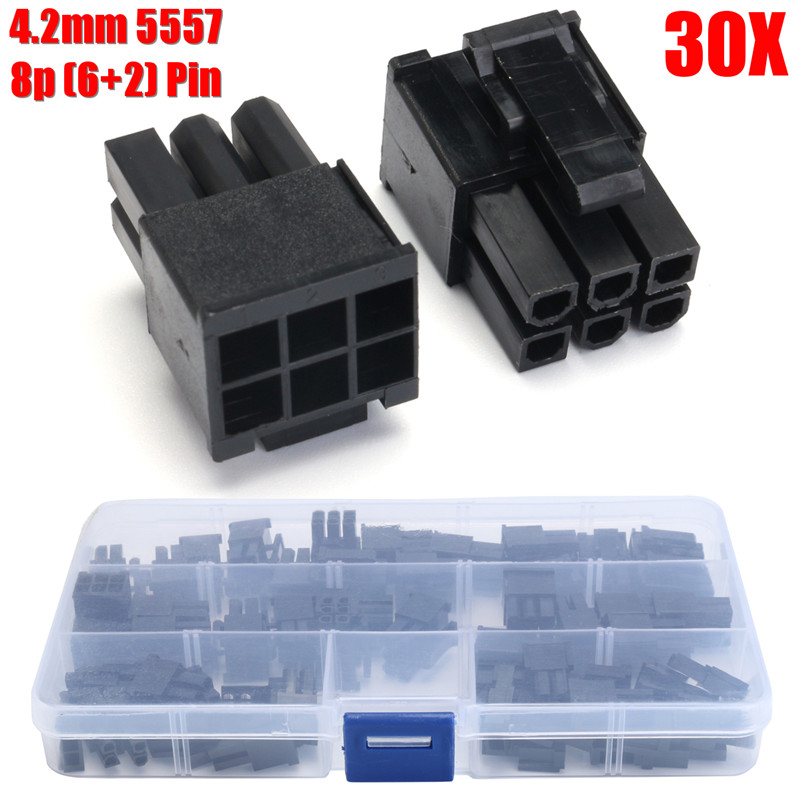 Hot 30pcs 5557 ATX/EPS PCI-E GPU 4.2mm 8P (6+2) Pin Male Power Connector Sets with Plastic Box 400pcs crimp female terminals pin plug 50pcs 5557 8 6 2 p atx eps pci e connectors with plastic box