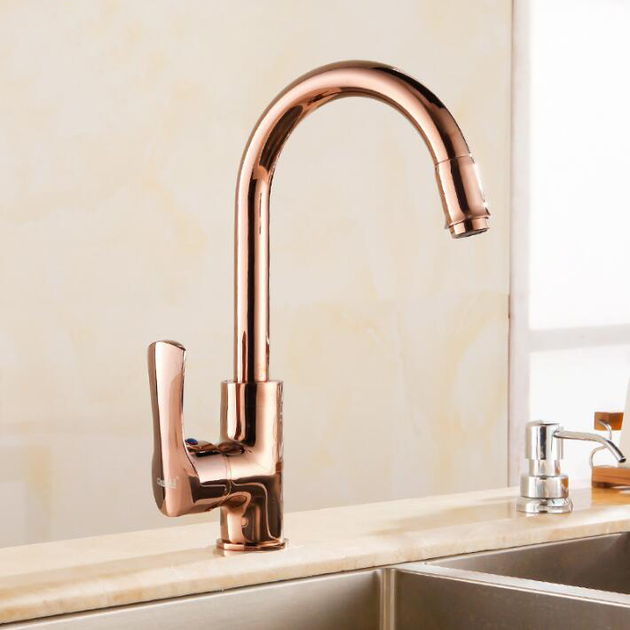 Free Shipping Rose Gold Brass Kitchen Faucets Swivel Kitchen Tap Faucets Single Hand Hot Cold Wash Basin Mixer Water Tap 360 degree swivel jade brass kitchen mixer cold and hot kitchen tap single hole water tap kitchen faucet free shipping 38cm tall