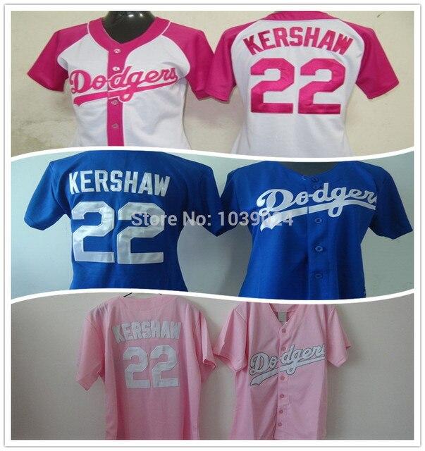 484b5847fe23 NWT 22 Clayton Kershaw Women Jersey pink Los Angeles Dodgers Jersey Woman  Baseball Jersey Blue Ladies Clayton Kershaw Jersey