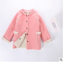 2016 new winter Girls Kids boys Thick plush coat woolen imitation leather jacket comfortable cute baby Clothes Children Clothing