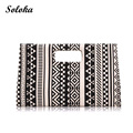 2016 New Arrival Women Canvas Day Clutches Ladies Briefcase Black and White Geometric Pattern Female Briefcase Fashion Handbag