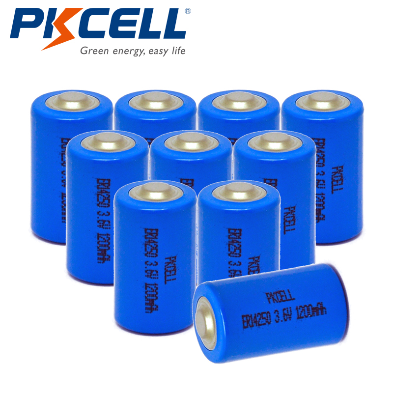 10PCS/lot PKCELL <font><b>1</b></font>/<font><b>2</b></font> <font><b>AA</b></font> <font><b>Battery</b></font> <font><b>3.6V</b></font> ER14250 14250 1200mAh LiSOCl2 <font><b>Lithium</b></font> <font><b>Battery</b></font> <font><b>Batteries</b></font> for GPS image
