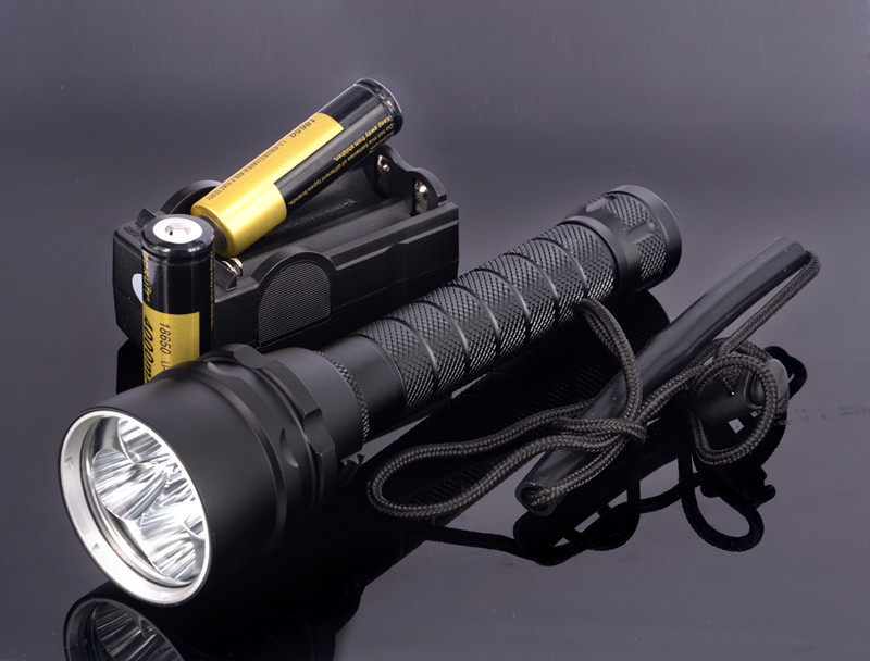 Waterproof 5x CREE XM-L2 8000LM LED Diving Flashlight Underwater Lamp Torch + 2pcs 18650 Battery + Charger