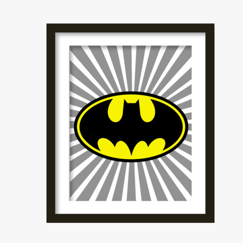 Batman Super Hero Print Kids Canvas Wall Art Bat Decor Poster Painting Dark Knight Pictures For Living Room No Frame