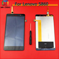 100% Guarantee LCD Display Screen With Touch Digitizer Assembly Complete For Lenovo S860 +Tools Free shipping