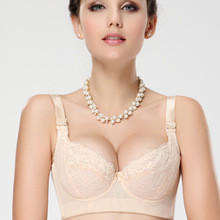 Plus Size C D E Cup Sexy Lace Bra For Women Large double super Push Up 5 hook gather breast Underwire lingerie lady bra
