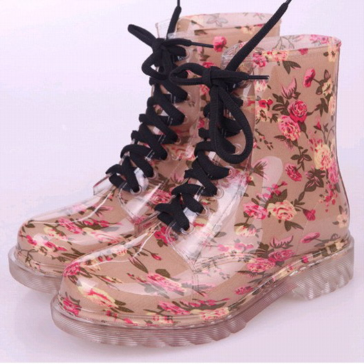 1c6401d94c3 Fashion Funky Lace up Transparent Crystal Clear Waterproof Patterned  Wellies Martin Rainboots Shoes Women Flat Short Rain Boots on  Aliexpress.com   Alibaba ...